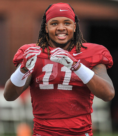 Will Gragg warms up for the Razorback football practice on Tuesday, August 18, 2015 at the Fred W. Smith Football Center in Fayetteville, Arkansas.   (Alan Jamison, Nate Allen Sports Service).