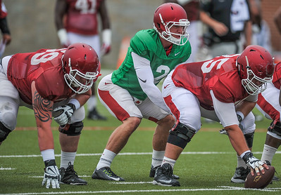 Rafe Peavey prepares to take the snap at the Razorback football practice on Tuesday, August 18, 2015 at the Fred W. Smith Football Center in Fayetteville, Arkansas.   (Alan Jamison, Nate Allen Sports Service).