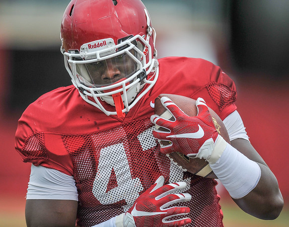 Anthony Brown scores at the Razorback football practice on Tuesday, August 18, 2015 at the Fred W. Smith Football Center in Fayetteville, Arkansas.   (Alan Jamison, Nate Allen Sports Service).