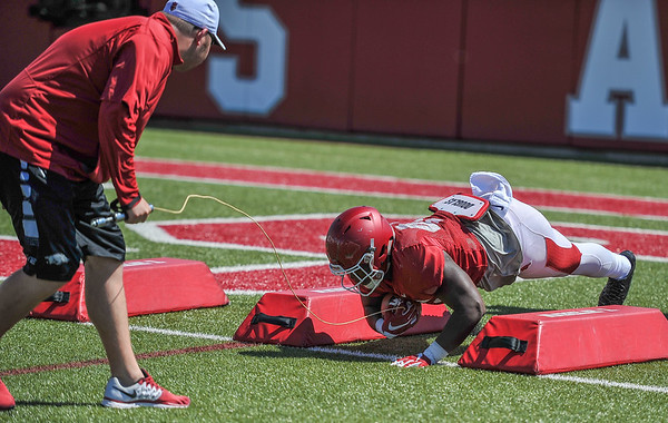Tyler Colquitt at the Razorback football practice on Thursday, August 20, 2015 at the Fred W. Smith Football Center in Fayetteville, Arkansas.   (Alan Jamison, Nate Allen Sports Service).