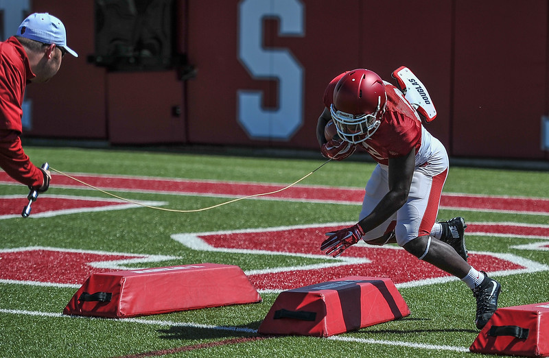 Denzell Evans at the Razorback football practice on Thursday, August 20, 2015 at the Fred W. Smith Football Center in Fayetteville, Arkansas.   (Alan Jamison, Nate Allen Sports Service).