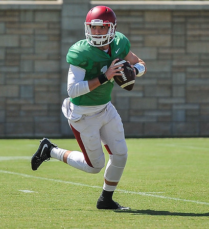 Brandon Allen at the Razorback football practice on Thursday, August 20, 2015 at the Fred W. Smith Football Center in Fayetteville, Arkansas.   (Alan Jamison, Nate Allen Sports Service).