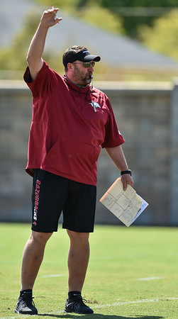 Head Coach Bret Bielema at the Razorback football practice on Thursday, August 20, 2015 at the Fred W. Smith Football Center in Fayetteville, Arkansas.   (Alan Jamison, Nate Allen Sports Service).