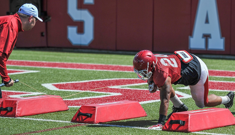 Kody Walker at the Razorback football practice on Thursday, August 20, 2015 at the Fred W. Smith Football Center in Fayetteville, Arkansas.   (Alan Jamison, Nate Allen Sports Service).