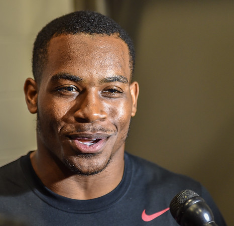 Rahan Gaines meets with media after the Razorback football practice on Friday, August 21, 2015 at the Fred W. Smith Football Center in Fayetteville, Arkansas.   (Alan Jamison, Nate Allen Sports Service).