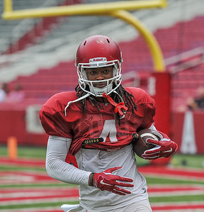 Keon Hatcher with a touchdown during the Razorback football practice on Saturday, August 22, 2015 at Reynolds Razorback Stadium in Fayetteville, Arkansas.   (Alan Jamison, Nate Allen Sports Service).