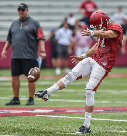 Toby Baker punts during the Razorback football practice on Saturday, August 22, 2015 at Reynolds Razorback Stadium in Fayetteville, Arkansas.   (Alan Jamison, Nate Allen Sports Service).