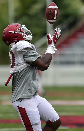 Jamario Bell at the Razorback football practice on Saturday, August 22, 2015 at Reynolds Razorback Stadium in Fayetteville, Arkansas.   (Alan Jamison, Nate Allen Sports Service).