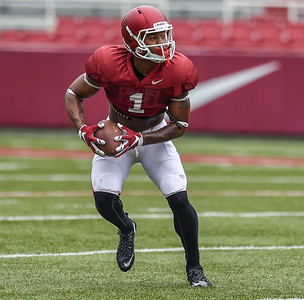 Jared Cornelius returns a punt during the Razorback football practice on Saturday, August 22, 2015 at Reynolds Razorback Stadium in Fayetteville, Arkansas.   (Alan Jamison, Nate Allen Sports Service).
