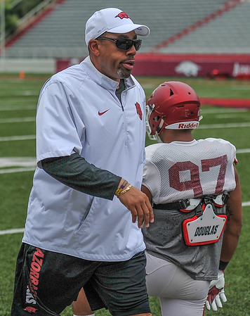 Coach Vernon Hargreaves at the Razorback football practice on Saturday, August 22, 2015 at Reynolds Razorback Stadium in Fayetteville, Arkansas.   (Alan Jamison, Nate Allen Sports Service).