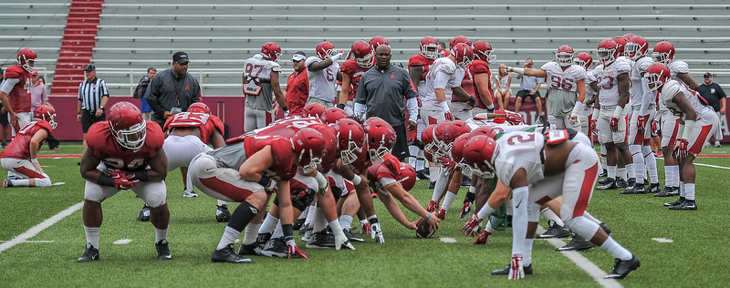 Special team blocks for a field goal attempt during the Razorback football practice on Saturday, August 22, 2015 at Reynolds Razorback Stadium in Fayetteville, Arkansas.   (Alan Jamison, Nate Allen Sports Service).
