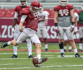 Cole Hedlund practices legwork for a kickoff during the Razorback football practice on Saturday, August 22, 2015 at Reynolds Razorback Stadium in Fayetteville, Arkansas.   (Alan Jamison, Nate Allen Sports Service).