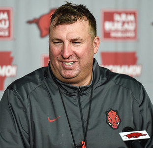 Head Coach Bret Bielema fields questions from the media after the Razorback football practice on Saturday, August 22, 2015 at Reynolds Razorback Stadium in Fayetteville, Arkansas.   (Alan Jamison, Nate Allen Sports Service).