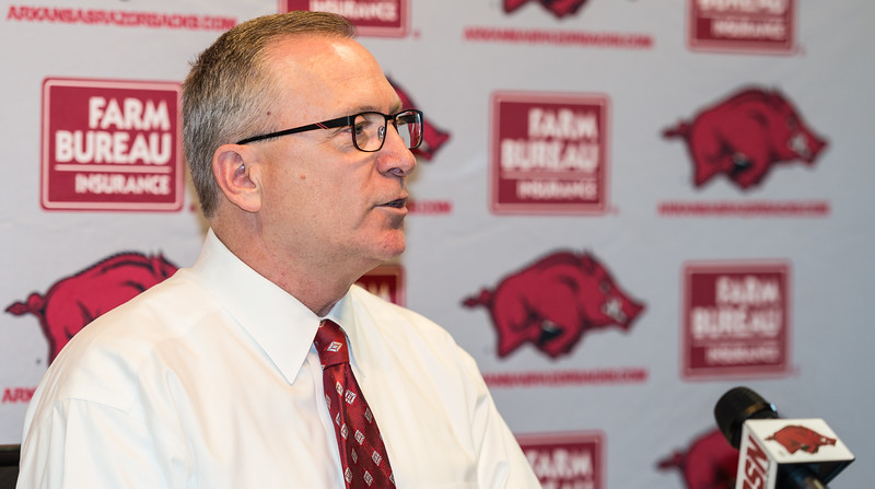 Arkansas Director of Athletics Jeff Long meets with media on Tuesday, August 25, 2015 in the Raymond Miller Room of the Broyles Athletic Center at the University of Arkansas, Fayetteville, Arkansas.  (Alan Jamison/Nate Allen Sports Service)