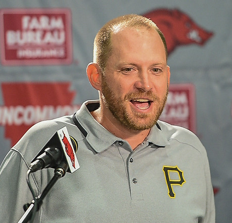 Defensive Coordinator Robb Smith during a press conference on Monday, September 7, 2015 at the Fred W. Smith Football Center.   (Alan Jamison, Nate Allen Sports Service).