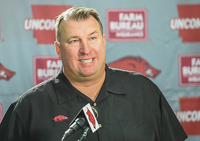 Head Coach Bret Bielema during a press conference on Monday, September 7, 2015 at the Fred W. Smith Football Center.   (Alan Jamison, Nate Allen Sports Service).