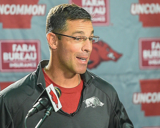 Offensive Coordinator Dan Enos during a press conference on Monday, September 7, 2015 at the Fred W. Smith Football Center.   (Alan Jamison, Nate Allen Sports Service).