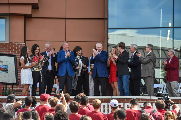 Dedication of the Jerry and Gene Jones Family Student-Athlete Success Center on  the campus of the University of Arkansas in Fayetteville, Arkansas.   (Alan Jamison, Nate Allen Sports Service)