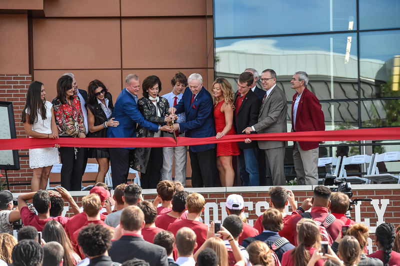 Ribbon cutting at the dedication of the Jerry and Gene Jones Family Student-Athlete Success Center on  the campus of the University of Arkansas in Fayetteville, Arkansas.   (Alan Jamison, Nate Allen Sports Service)