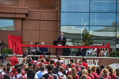Arkansas Governor Asa Hutchinson at the dedication of the Jerry and Gene Jones Family Student-Athlete Success Center on  the campus of the University of Arkansas in Fayetteville, Arkansas.   (Alan Jamison, Nate Allen Sports Service)
