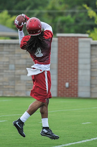 Keon Hatcher during the first  Fall Razorback Football practice on Thursday, August 6, 2015 at the Fred W. Smith Football Center in Fayetteville, Arkansas.   Photos by Alan Jamison.