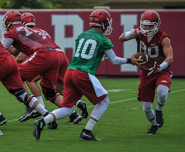 Brandon Allen and Drew Morgan during the first  Fall Razorback Football practice on Thursday, August 6, 2015 at the Fred W. Smith Football Center in Fayetteville, Arkansas.   Photos by Alan Jamison.