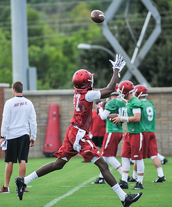 Dominique Reed during the first  Fall Razorback Football practice on Thursday, August 6, 2015 at the Fred W. Smith Football Center in Fayetteville, Arkansas.   Photos by Alan Jamison.