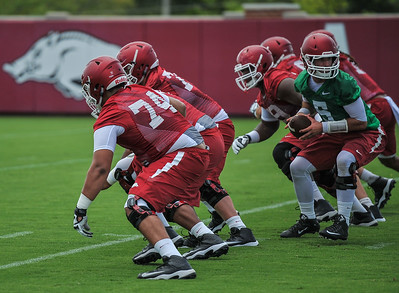 Colton Jackson and Ty Storey during the first  Fall Razorback Football practice on Thursday, August 6, 2015 at the Fred W. Smith Football Center in Fayetteville, Arkansas.   Photos by Alan Jamison.