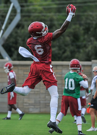 Kendrick Edwards during the first  Fall Razorback Football practice on Thursday, August 6, 2015 at the Fred W. Smith Football Center in Fayetteville, Arkansas.   Photos by Alan Jamison.