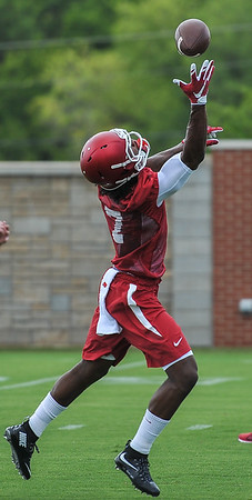 Damon Mitchell during the first  Fall Razorback Football practice on Thursday, August 6, 2015 at the Fred W. Smith Football Center in Fayetteville, Arkansas.   Photos by Alan Jamison.