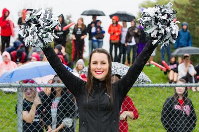 Ravens Rhythm cheerleader happy despite the weather