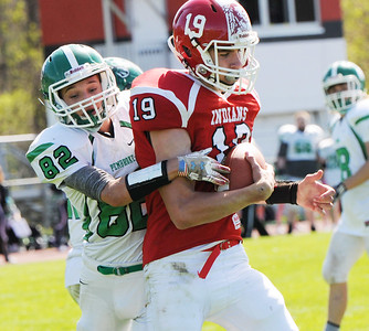 Andrew Damore of Red Jacket hauls in a two-point conversion pass from his brother Kyle Damore Photo by Jack Haley for Daily Messenger.
