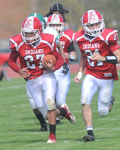 Rowan Moore of Red Jacket heads to the end zone after he scooped up a kickoff that no one from Pembroke was able to pick up in the second half. Photo by Jack Haley for Daily Messenger.