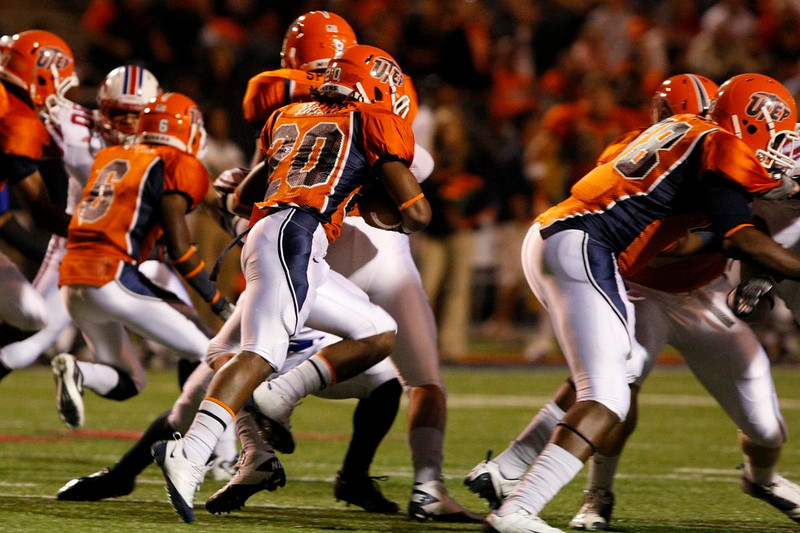 Vernon Frazer hits the hole on the opening kickoff of UTEP's upset win over SMU