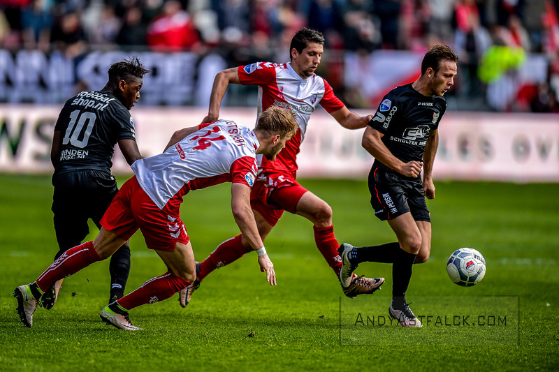 10-04-2016: Voetbal: FC Utrecht v NEC: Utrecht  Anthony Limbombe from NEC, Timo Letschert and Chris Kum from Utrecht, and Todd Kane from NEC with the ball  Fotograaf Andy Astfalck Eredivisie seizoen 2015/2016 Utrecht - NEC