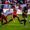 10-04-2016: Voetbal: FC Utrecht v NEC: Utrecht<br /> <br /> Anthony Limbombe from NEC, Timo Letschert and Chris Kum from Utrecht, and Todd Kane from NEC with the ball<br /> <br /> Fotograaf Andy Astfalck<br /> Eredivisie seizoen 2015/2016 Utrecht - NEC