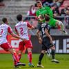 10-04-2016: Voetbal: FC Utrecht v NEC: Utrecht<br /> <br /> Filip Bednarek, Mark van der Maarel, Ramon Leeuwin from Utrecht, and Joey Sleegers from NEC<br /> <br /> Fotograaf Andy Astfalck<br /> Eredivisie seizoen 2015/2016 Utrecht - NEC