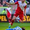 10-04-2016: Voetbal: FC Utrecht v NEC: Utrecht<br /> <br /> Brad Jones from NEC, Ruud Boymans from Utrecht<br /> <br /> Fotograaf Andy Astfalck<br /> Eredivisie seizoen 2015/2016 Utrecht - NEC