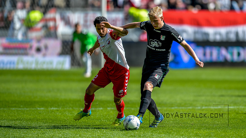10-04-2016: Voetbal: FC Utrecht v NEC: Utrecht  Lucas Woudenberg from NEC and Mark van der Maarel from Utrecht  Fotograaf Andy Astfalck Eredivisie seizoen 2015/2016 Utrecht - NEC