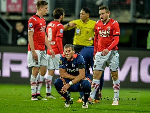 02-04-2016: Voetbal: AZ v PSV: Alkmaar  Jeffrey Bruma from PSV after receiving a yellow card  Fotograaf Andy Astfalck  Eredivisie AZ Alkmaar vs PSV Eindhoven