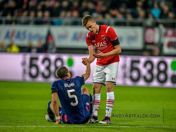 02-04-2016: Voetbal: AZ v PSV: Alkmaar  Jeffrey Bruma and Markus Henriksen  Fotograaf Andy Astfalck  Eredivisie AZ Alkmaar vs PSV Eindhoven