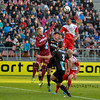 20-04-2016: Voetbal: FC Utrecht v De Graafschap: Utrecht<br /> <br /> Sebastian Haller from Utrecht head the ball towards goal, with Robin Propper, Ted van de Pavert and Hidde Jurjus from de Graafschap<br /> <br /> Copyright Orange Pictures / Andy Astfalck<br /> <br /> Eredivisie seizoen 2015/2016 Utrecht - de Graafschap