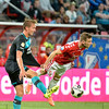 Kevin Conboy from Utrecht is airborne in a challenge against Luuk de Jong from PSV during the Dutch Eredivisie Football match between FC Utrecht and PSV Eindhoven at Stadion Galgenwaard in Utrecht on August 6, 2016.