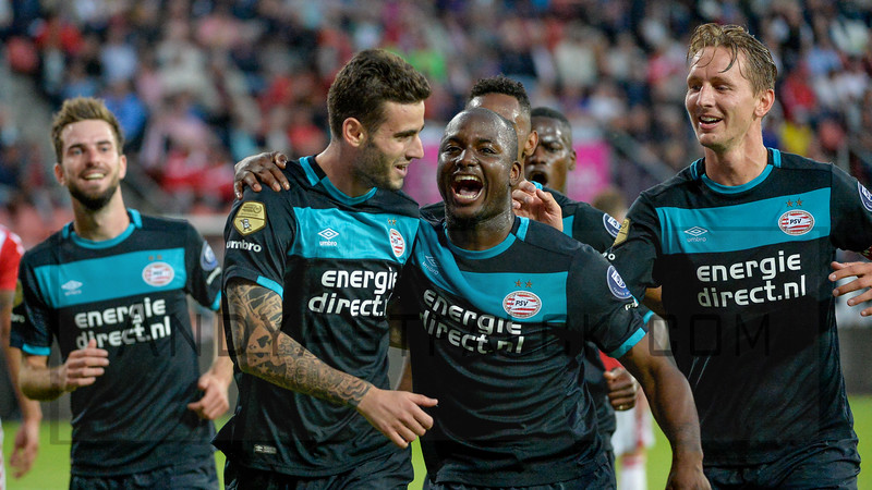 PSV celebrate. (L-R) Davy Propper,  Gaston Pereiro, Jetro Willems  and Luuk de Jong during the Dutch Eredivisie Football match between FC Utrecht and PSV Eindhoven at Stadion Galgenwaard in Utrecht on August 6, 2016.