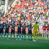A moment of silence at the start of the Dutch Eredivisie Football match between FC Utrecht and PSV Eindhoven at Stadion Galgenwaard in Utrecht on August 6, 2016.