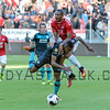 Joshua Brenet from PSV clashes with Sebastien Haller from Utrecht during the Dutch Eredivisie Football match between FC Utrecht and PSV Eindhoven at Stadion Galgenwaard in Utrecht on August 6, 2016.