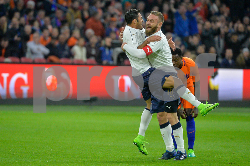 Netherlands  v Italy - International Friendly Italians Daniele De Rossi and Eder Citadin Martins celebrate a goal during the friendly match between Netherlands and Italy on March 28, 2017 at the Amsterdam ArenA in Amsterdam, Netherlands.