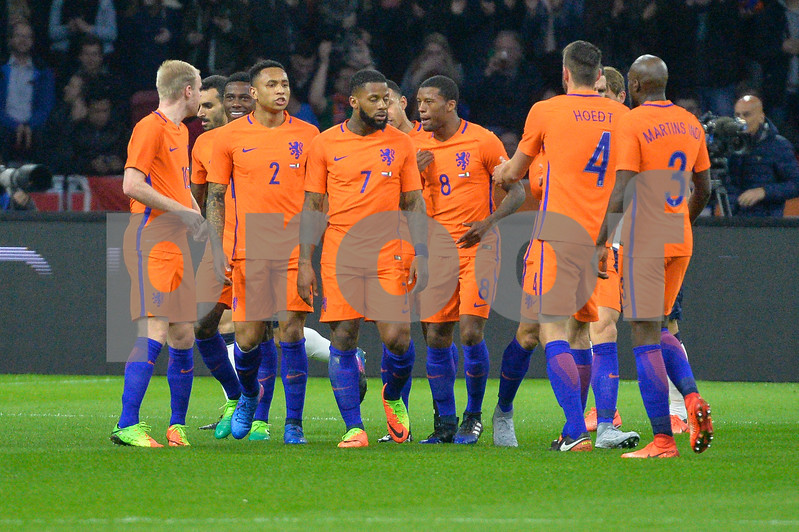 Netherlands  v Italy - International Friendly Netherlands celebrate their goal during the first half of the friendly match between Netherlands and Italy on March 28, 2017 at the Amsterdam ArenA in Amsterdam, Netherlands.