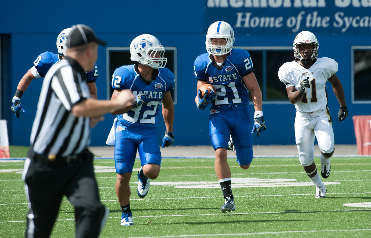 Indiana State defeats Quincy 44-0 in the opening home game of the 2012 football season