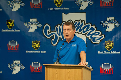 Coach Sanford and the Sycamore football team host a media day for local press.